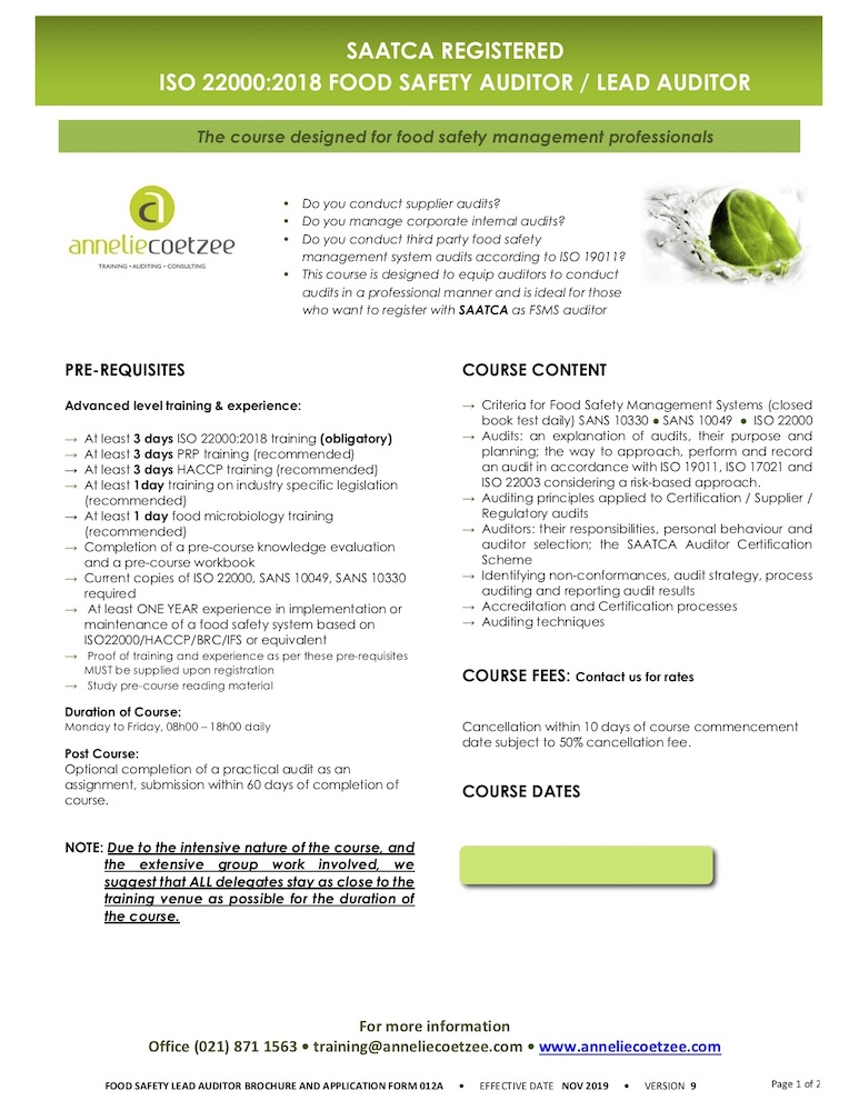 2020 FEB FORM012A 5 Day Food Safety Lead Auditor BROCHURE AND APPLICATION FORM V9 blank
